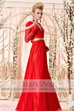 Long Sleeves Red and Gold Retro Style Evening Dress