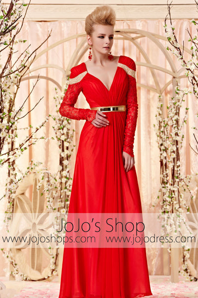 Long Sleeves Red and Gold Year End Party Dress