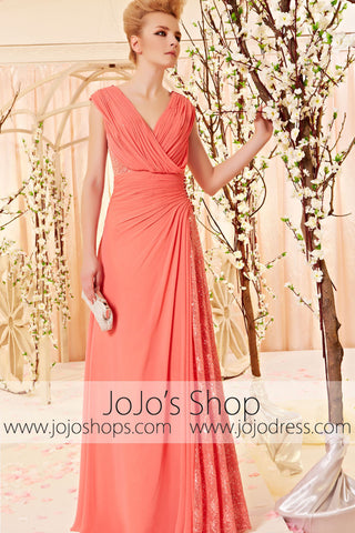 Grecian Orange V Neck Evening Gown