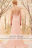 Apricot Blush Pink Lace Applique See through back Formal Prom Dress