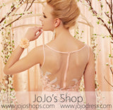 Apricot Blush Pink Lace Applique Formal Prom Dress