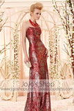 Stunning Red and Silver Sequins Strapless Evening Dress CX830303