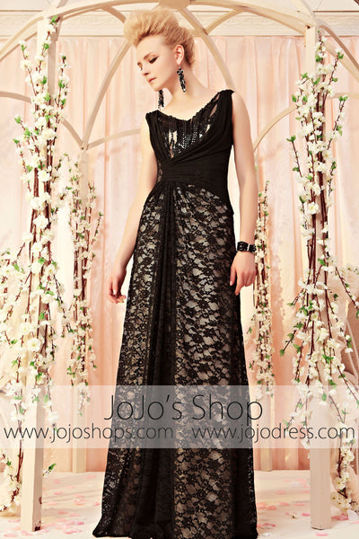 Black Lace Floor Length V Neck Formal Evening Dress CX830311