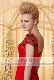 Red Short Sleeves Sweetheart Formal Evening Dress CX830320
