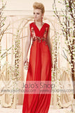 Sexy Red Sleeveless Dress with Floral Applique CX830335