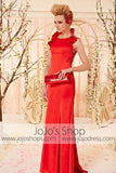 Modest Red Sleek Evening Dress with Collar CX830338