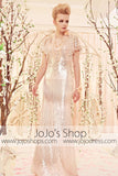 Retro Vintage 30s Sequined Champagne Evening Dress CX830353
