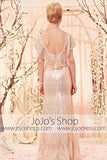 Retro Vintage 30s Sequined Low Back Champagne Evening Dress CX830353