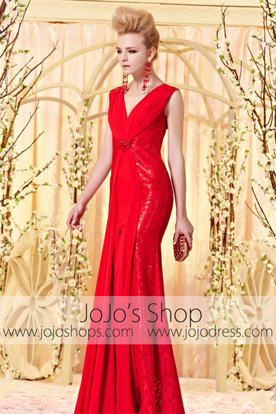Red Fit and Flare V Neck Keyhole Evening Dress with Slit CX830356