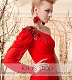Red Long Sleeve One Shoulder Evening Dress CX830359