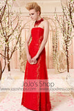Strapless Red Lace Slim A-line Evening Dress CX830361