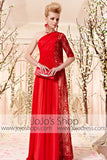 Grecian Red One Shoulder Evening Dress CX830363