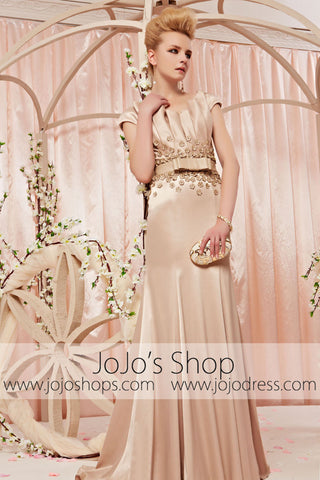 Gold Champagne Retro Fit and Flare Evening Dress CX830365