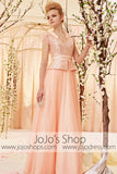Princess Peach Pink Puff Sleeves Evening Dress