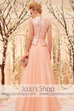 Modest Princess Short Sleeves Peach Pink Prom Dress