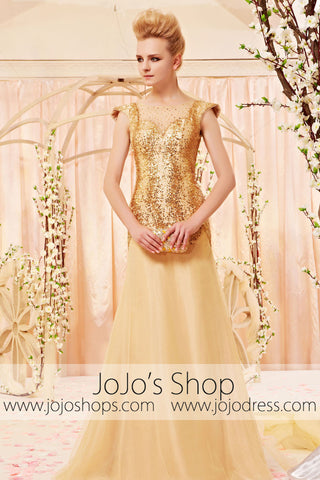 Gold Modest Cap Sleeves Home Coming Prom Formal Dress CX830398