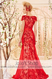 Red Cap Sleeves Fit and Flare Sequins Beauty Pageant Dress CX830502