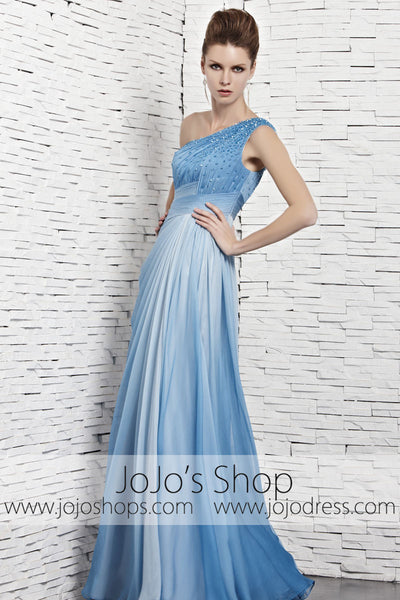 Grecian Changing Blue One Shoulder Beauty Pageant Evening Dress CX881121