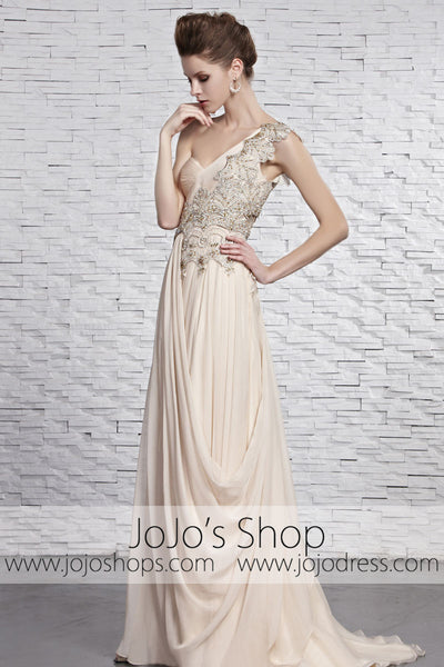 Grecian Beige Champagne Goddess One Shoulder Performance Stage Dress CX881369