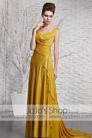 Grecian Gold V Neck Goddess Formal Beauty Pageant Evening Dress CX881383