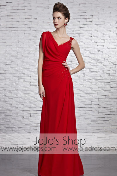 Red Grecian V Neck Stylish Beauty Pageant Red Carpet Dress CX881519