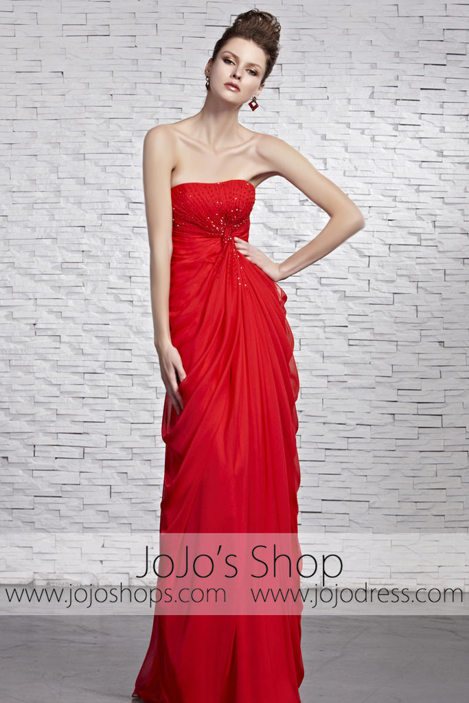 Hot Timeless Red Strapless Grecian Beauty Pageant Evening Dress ...