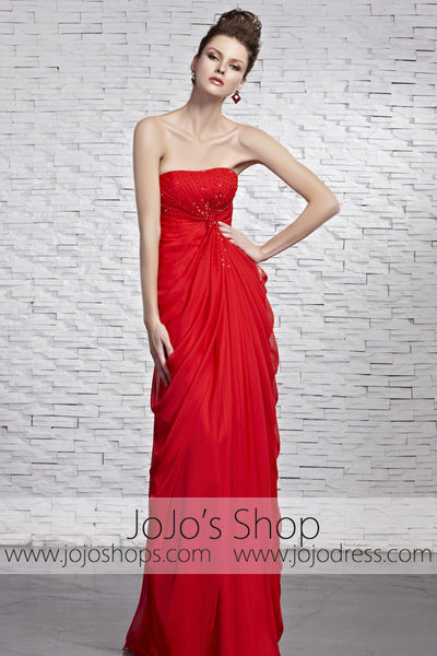 Hot Timeless Red Strapless Grecian Beauty Pageant Evening Dress CX881520