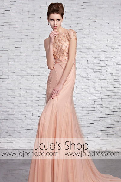 Blush Pink Grecian Formal Pageant Home Coming Dress CX881521
