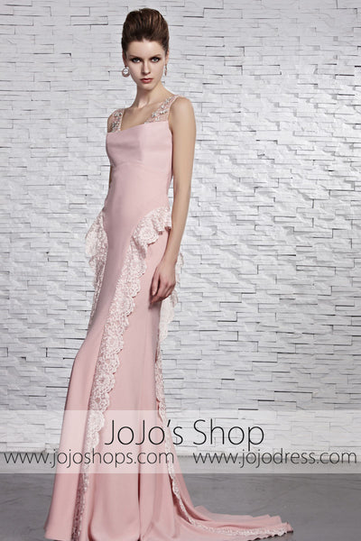 Blush Pink Stylish Cap Sleeves Prom Formal Evening Dress CX881522