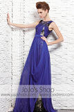 Jeweled Neck Blue Formal Black Tie Pageant Evening Dress CX881523