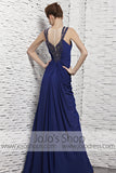 Dark Blue Modest Floor Length Evening Formal Dress CX881528