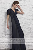 Navy Blue Short Sleeves Chiffon V Neck Evening Formal Dress CX881533