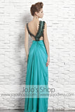 Grecian Green Teal V Neck Venus Classy Stylish Evening Formal Dress CX881566