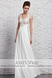 Ivory Lace Slim Floor Length Chiffon Evening Formal Dress CX881583