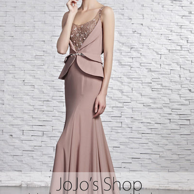 Mocha Brown Stylish Vogue Low Back Evening Formal Dress CX881595