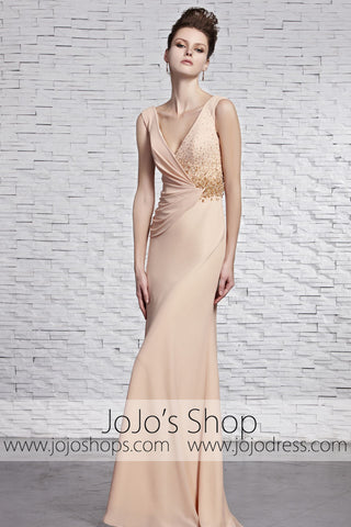 Champagne Sleek Stylish Classy V Neck Evening Formal Dress CX881596