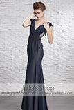 Sophisticated Navy Blue Dress Award Designer V Neck Evening Formal Dress CX881609