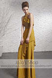 Yellow Brown Stylish Halter Designer Evening Formal Dress CX881618