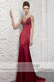 Retro Hollywood Scarlet Red Sleek Evening Formal Dress CX881652