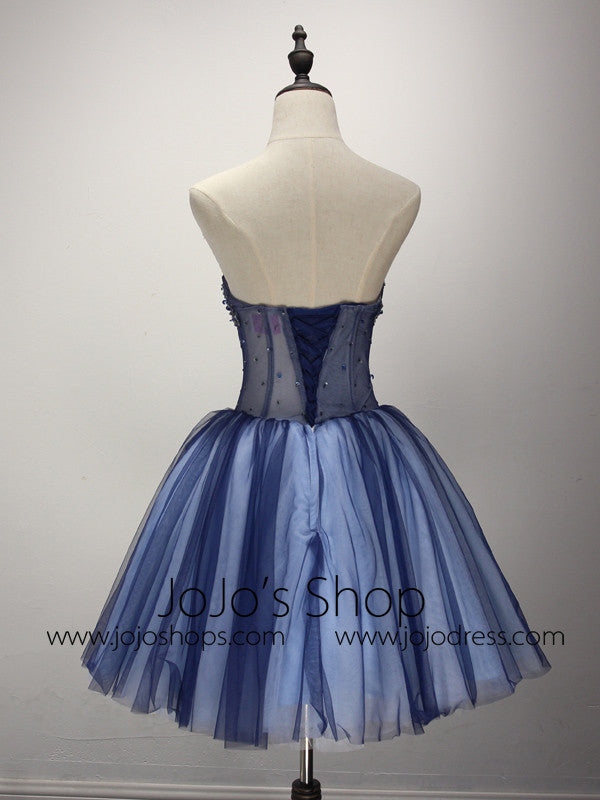 Dark Blue Short Cocktail Prom Formal Dress