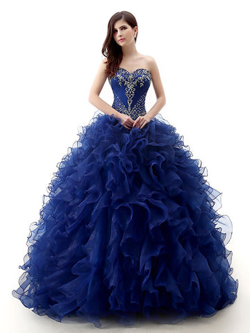 Strapless Dark Blue Quinceanera Ball Gown Formal Dress