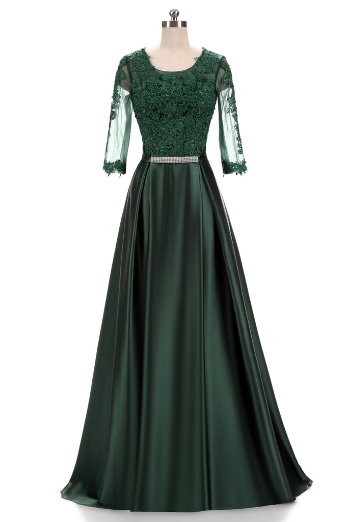 formal green lace dress