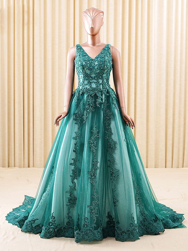 Dark Green Lace Formal Ball Gown Evening Dress with Low Back
