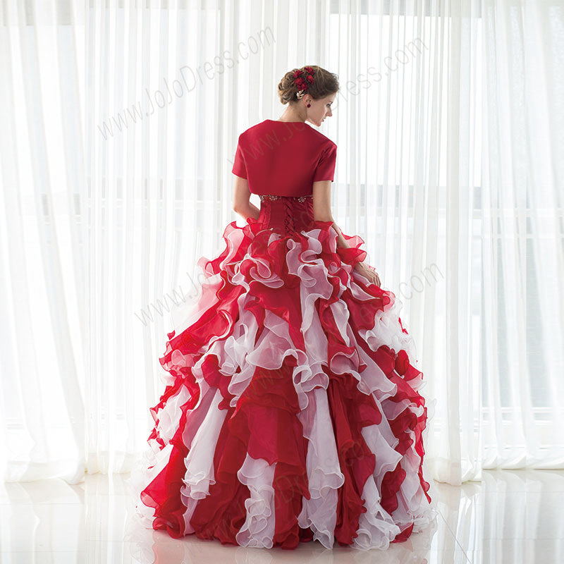 Strapless Red Ball Gown with Ruffle Skirt and Jacket EN19090086