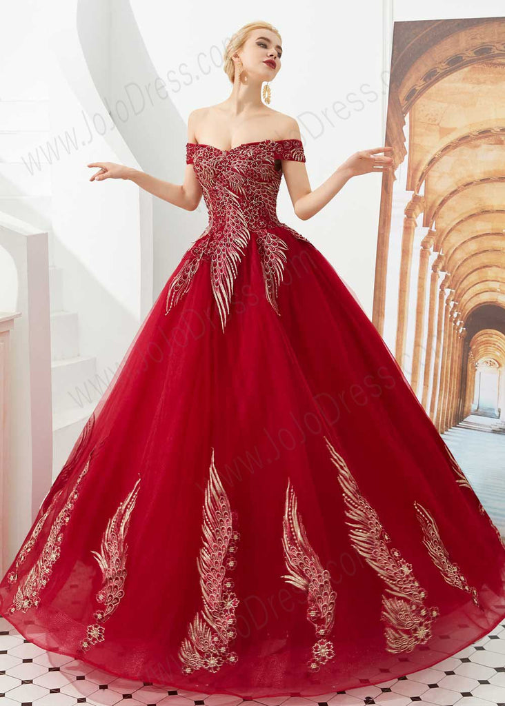 Dark Red Off the Shoulder Ball Gown Prom Formal Dress