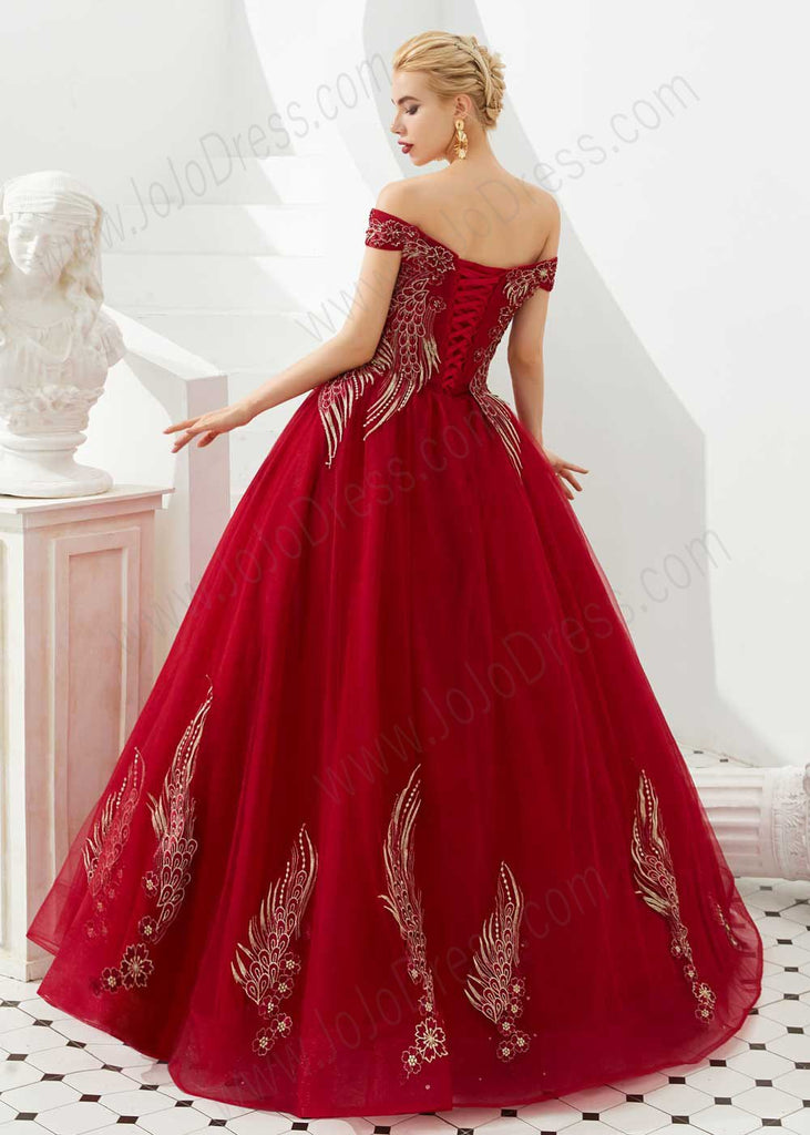 Dark Red Off the Shoulder Ball Gown Prom Formal Dress with Corset Back