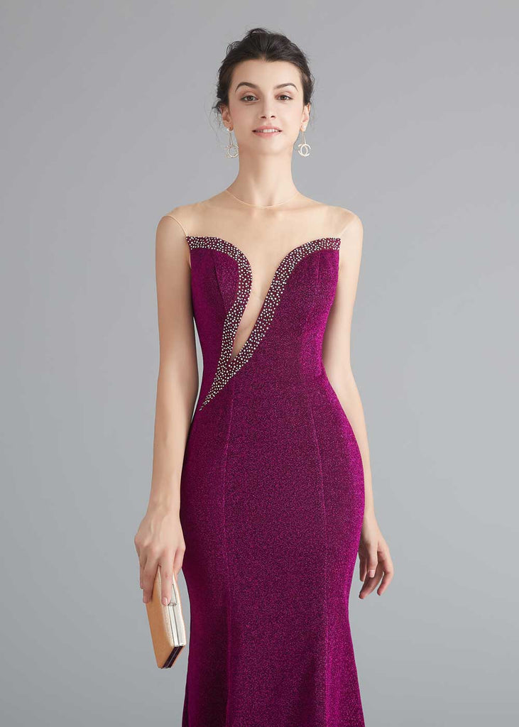 Dark Red Shimmery Formal Prom Home Coming Dress