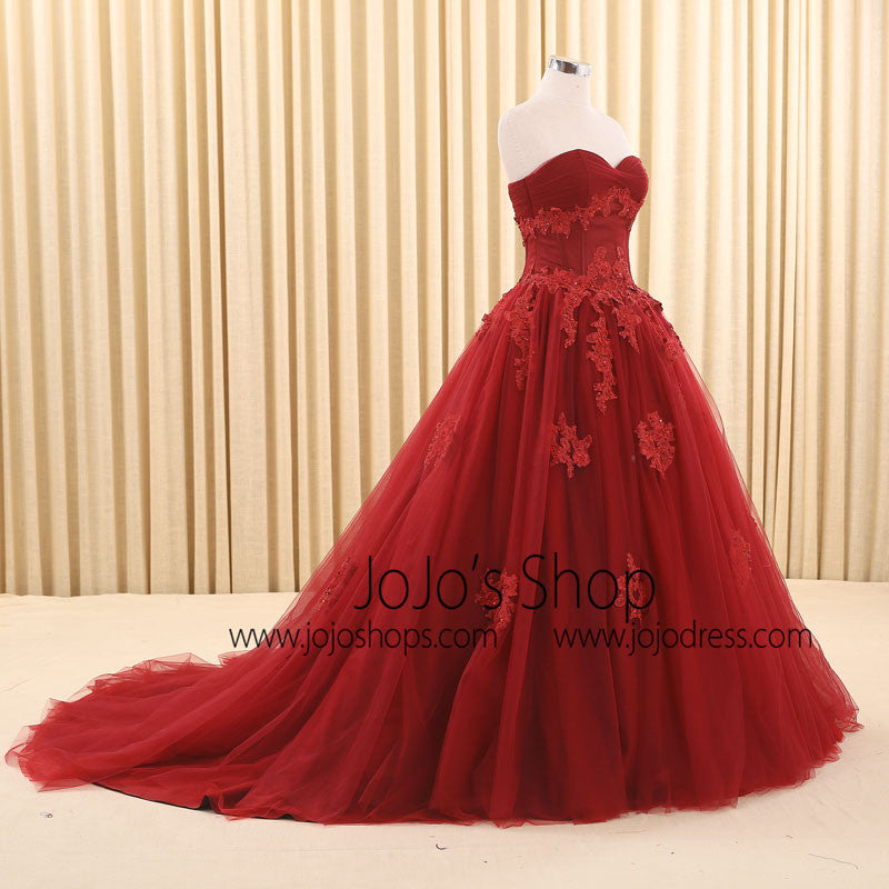 Dark Red Ball Gown Lace Wedding Dress | RS6805