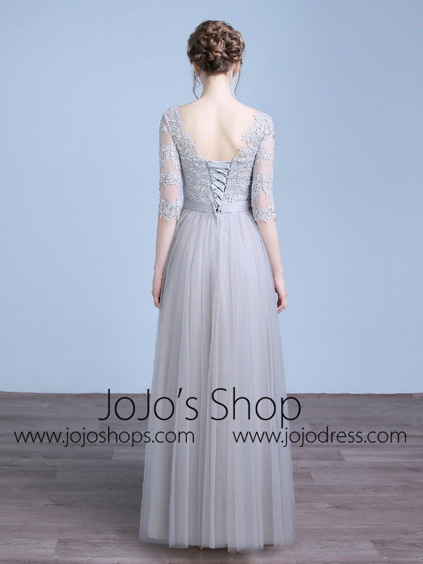 Gray Floor Length Lace Formal Home Coming Prom Dress