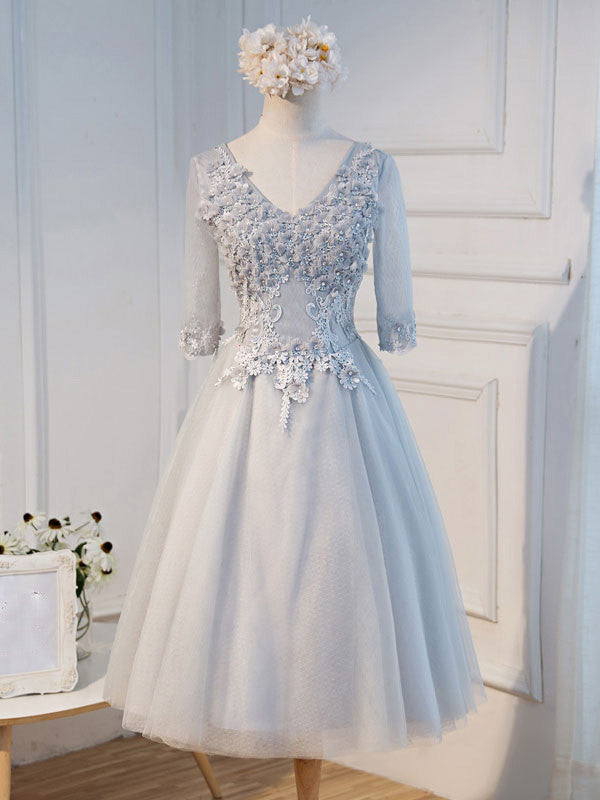 Gray Tulle Lace Formal Evening Dress with Sleeves